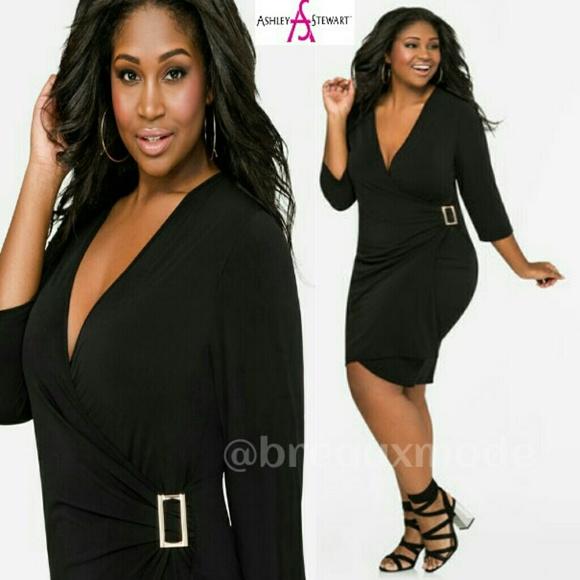 Ashley Stewart Dresses Plus Black Faux Wrap Dress Poshmark